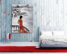 "Load image into Gallery viewer, ""Waiting at Sea"" Hand Painted on Wrapped Canvas"