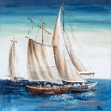 "Load image into Gallery viewer, ""Sailing Away"" Hand Painted on Wrapped Canvas"
