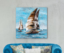 "Load image into Gallery viewer, ""The Sail and the Sea"" Hand Painted Canvas"