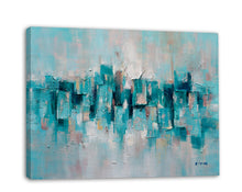 "Load image into Gallery viewer, ""Abstract Turquoise Lake"" Hand Painted on Wrapped Canvas"