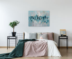 """Abstract Turquoise Lake"" Hand Painted on Wrapped Canvas"