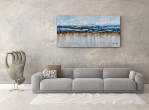"""Abstract Ocean Beach"" Hand Painted on Wrapped Canvas"