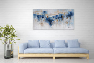 """Abstract Water and Earth"" Hand Painted Canvas Artwork; Fine Art; Modern"
