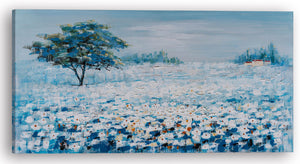 """A Blue Flower Field I"" Hand Painted on Wrapped Canvas"