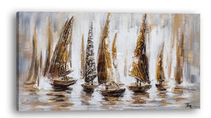 """Gold Sail Boats"" Hand Painted on Wrapped Canvas"
