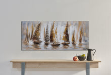 "Load image into Gallery viewer, ""Gold Sail Boats"" Hand Painted on Wrapped Canvas"