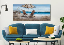 "Load image into Gallery viewer, ""Beach Chairs"" Hand Painted on Wrapped Canvas"
