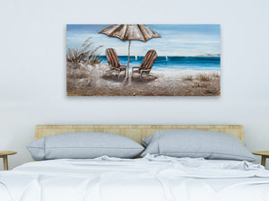 """Beach Chairs"" Hand Painted on Wrapped Canvas"
