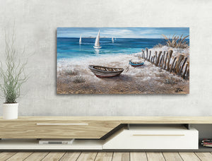 """Boats on the Sand"" Hand Painted on Wrapped Canvas"