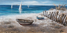 "Load image into Gallery viewer, ""Boats on the Sand"" Hand Painted on Wrapped Canvas"