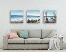 "Load image into Gallery viewer, ""The Lighthouse II"" Hand Painted on Wrapped Canvas , 20""H x 20""W x 1.5""D-3piece"