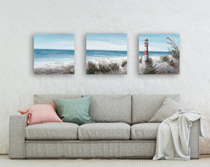 """The Lighthouse II"" Hand Painted on Wrapped Canvas , 20""H x 20""W x 1.5""D-3piece"