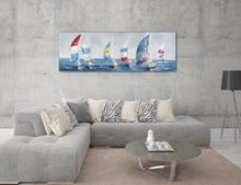 "Load image into Gallery viewer, ""Colorful Sailboats I"" Hand Painted on Wrapped Canvas"