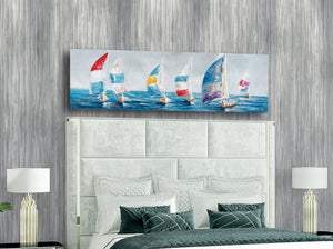 """Colorful Sailboats I"" Hand Painted on Wrapped Canvas"