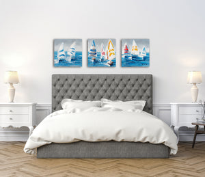 """Colorful Sailboats II"" Hand Painted on Wrapped Canvas"