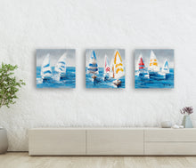 "Load image into Gallery viewer, ""Colorful Sailboats II"" Hand Painted on Wrapped Canvas"