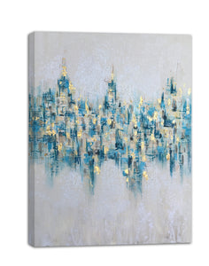 """Abstract Glistening Lights"" Hand Painted on Wrapped Canvas"