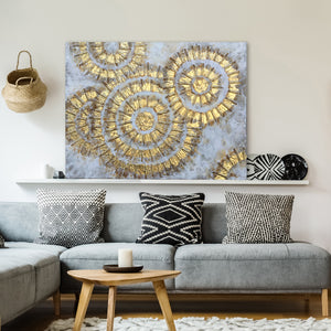"""Shiny Gold Circles Abstract  Art"" Hand Painted on Wrapped Canvas"