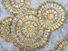 "Load image into Gallery viewer, ""Shiny Gold Circles Abstract  Art"" Hand Painted on Wrapped Canvas"