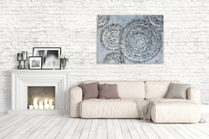 """Shiny Silver Circles"" Hand Painted on Wrapped Canvas"