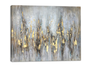"""Abstract Gleaming Gold"" Hand Painted on Wrapped Canvas"