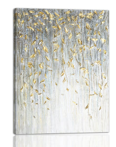 """Dangling Gold Leaves I"" Hand Painted on Wrapped Canvas"