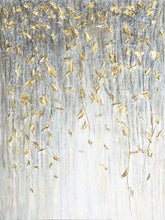"Load image into Gallery viewer, ""Dangling Gold Leaves I"" Hand Painted on Wrapped Canvas"