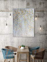 "Load image into Gallery viewer, ""Dangling Gold Leaves II"" Hand Painted on Wrapped Canvas"