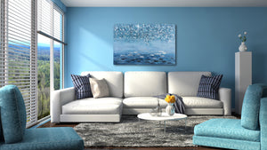 """Shades of Blue Waters"" Hand Painted on Wrapped Canvas"