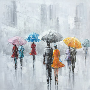 """Rainy Days in the City I "" Hand Painted on Wrapped Canvas"