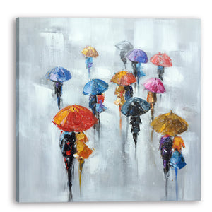 """Rainy Days in the City II "" Hand Painted Canvas"