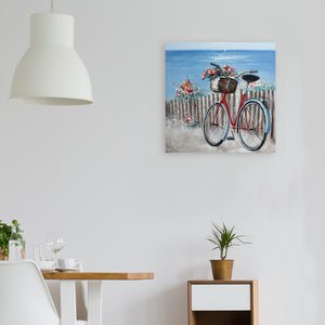 """Flowers & Bicycles on Coastal"" Hand painted on Wrapped Canvas"