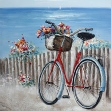 "Load image into Gallery viewer, ""Flowers & Bicycles on Coastal"" Hand painted on Wrapped Canvas"