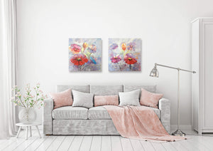 """A Beautiful Day with Flowers I"" Hand Painted on Wrapped Canvas"