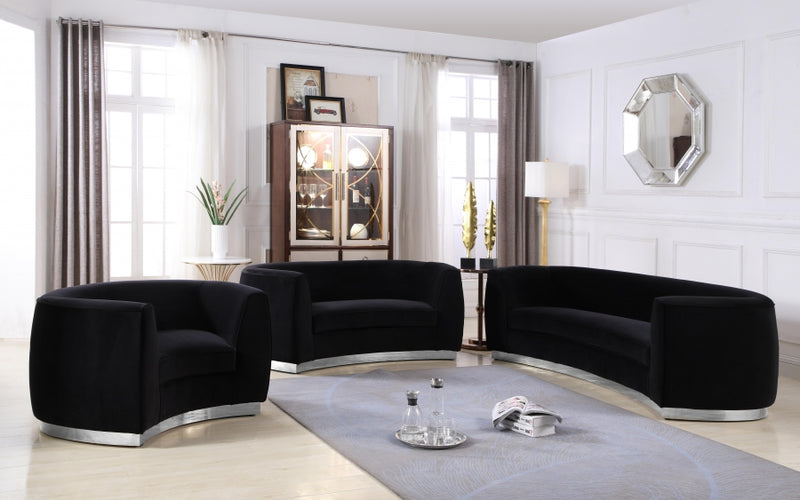 Dakona Living Room Chrome Group Black (Sofa)