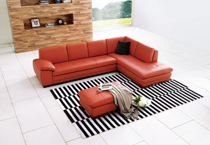 Noelle Italian Leather Sectional in Pumpkin