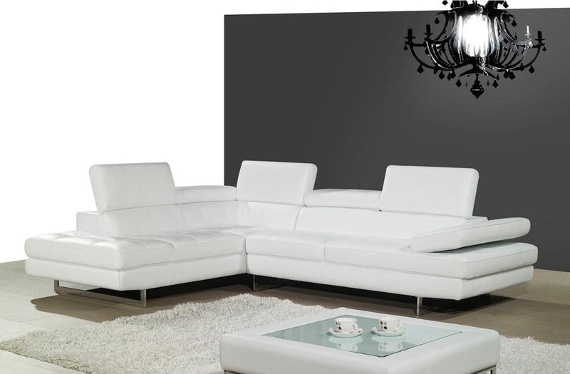 Alanzo Italian Leather Sectional in White
