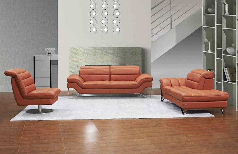 Charlize Leather Pumpkin Living Group (Sofa)