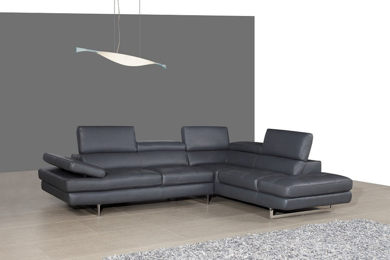 Alanzo Italian Leather Sectional Slate Grey