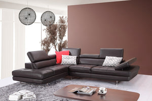 Alanzo Italian Leather Sectional in Coffee