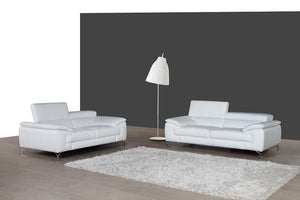 Ciro Premium 100% Leather Living Room Group in White (Sofa)