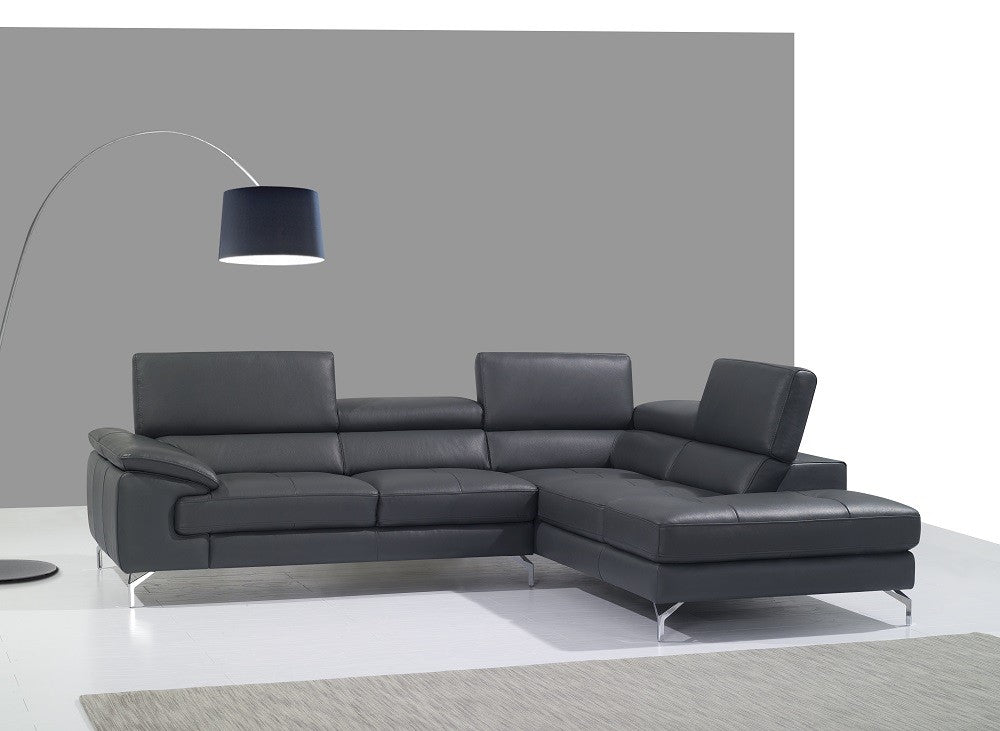 Abella Premium Leather Sectional Grey
