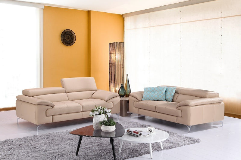 Ciro Premium 100% Leather Living Room Group Peanut (Sofa)