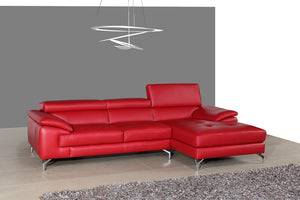 Abella II Premium Leather Sectional in Red