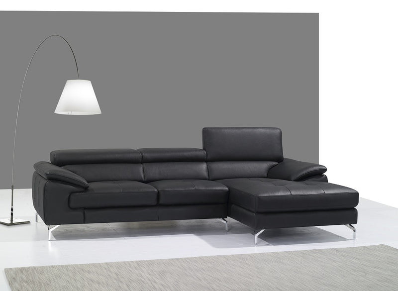Abella II Premium Leather Sectional in Black