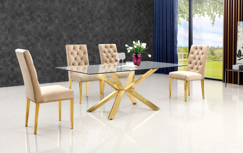 Alexis Gold 5pc Dining Room Set: Table and 4 Chairs-FDCMF70716BE