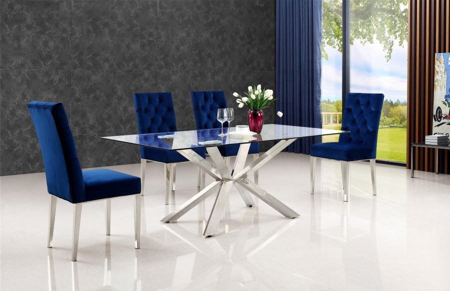 Alexis Chrome 5pc Dining Room Set: Table and 4 Chairs-FDCMF70732NY
