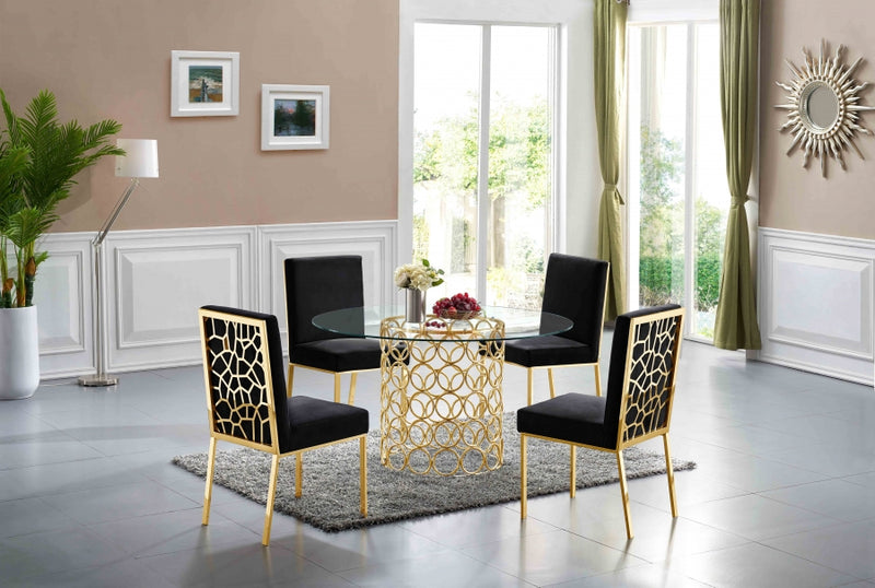 Sofiana Gold 5pc Dining Room Set: Table and 4 Chairs- FDCMF70737BL