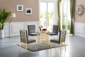 Sofiana Gold 5pc Dining Room Set: Table and 4 Chairs- FDCMF70737GY