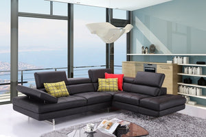 Alanzo Italian Leather Sectional in Black